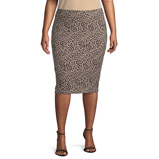 a.n.a Womens Knit Pencil Skirt - Plus