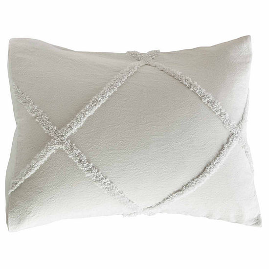 Peri Home Chenille Lattice Pillow Sham in Grey