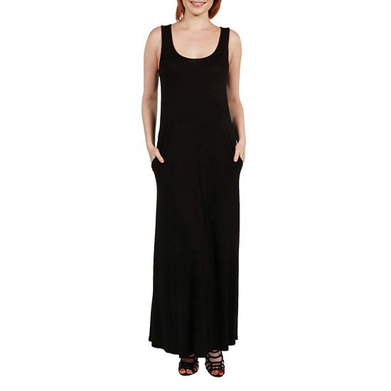 24Seven Comfort Apparel Pocket Maxi Dress - Plus