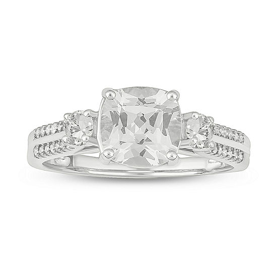 Womens 1/10 CT. T.W. Lab Created White Sapphire Sterling Silver Cocktail Ring