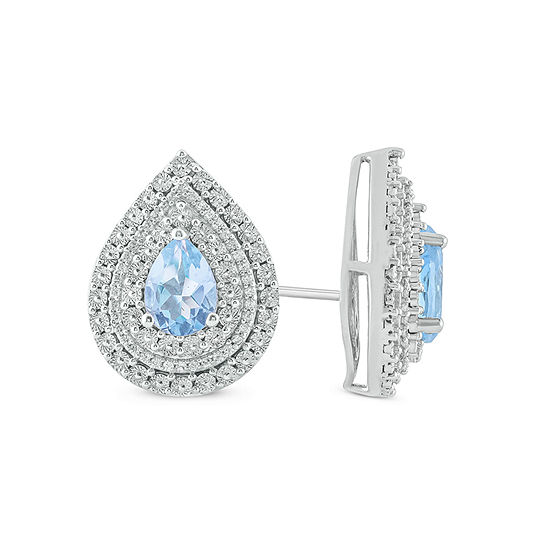 1/5 CT. T.W. Lab Created Blue Aquamarine Sterling Silver 17.9mm Stud Earrings