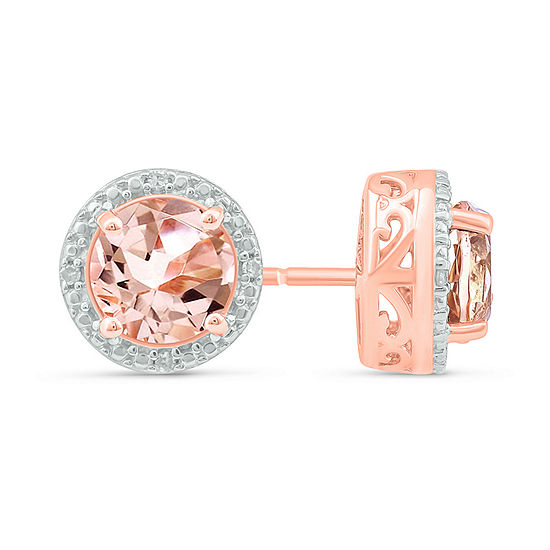 Diamond Accent Lab Created Pink Morganite 14K Rose Gold Over Silver 8.7mm Stud Earrings