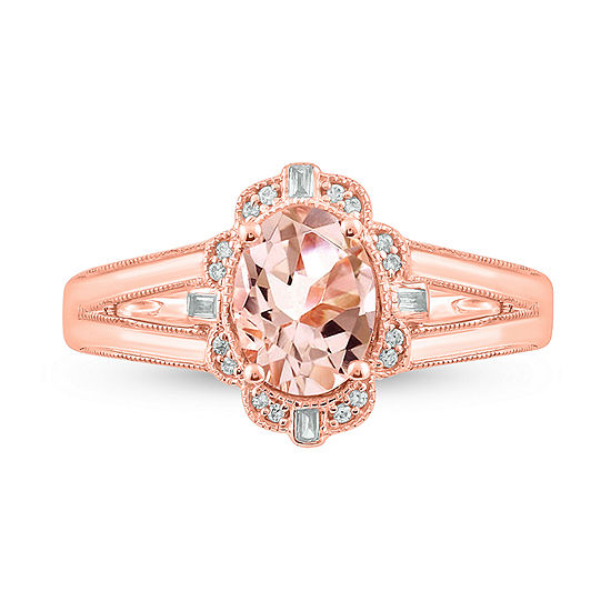 Womens Diamond Accent Lab Created Pink Morganite 14K Rose Gold Over Silver Cocktail Ring