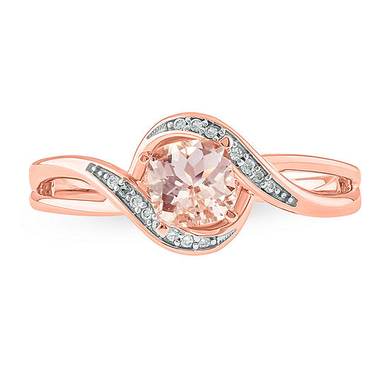 Womens Diamond Accent Genuine Pink Morganite 10K Gold Cocktail Ring