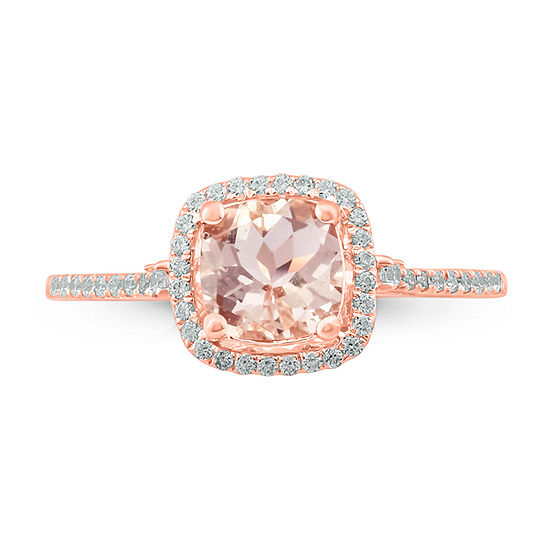 Womens 1/4 CT. T.W. Genuine Pink Morganite 10K Gold Cocktail Ring