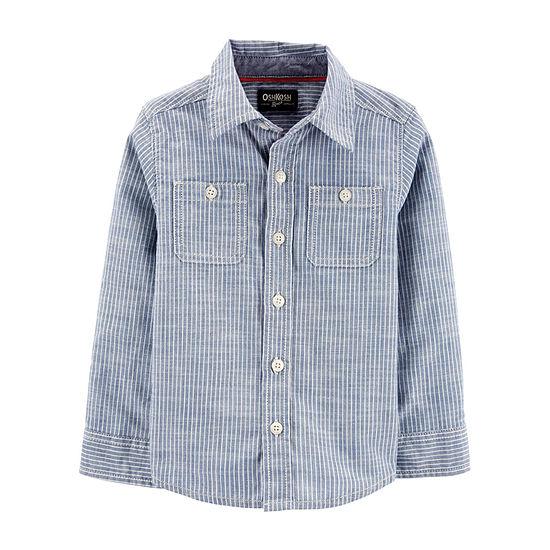 Oshkosh Toddler Boys Long Sleeve Button-Front Shirt