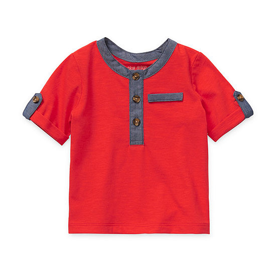 Okie Dokie Baby Boys Short Sleeve Henley Shirt