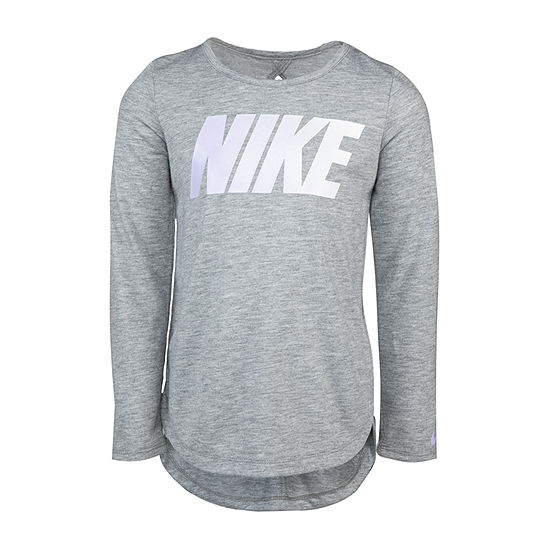 Nike Little Girls Crew Neck Long Sleeve Graphic T-Shirt