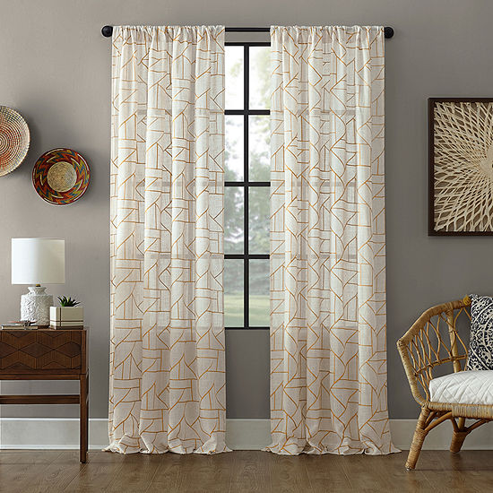 Archaeo Jigsaw Embroidery Linen Blend Rod-Pocket Sheer Curtain Panel