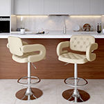 Corliving Corliving 2-pc. Upholstered Tufted Swivel Bar Stool