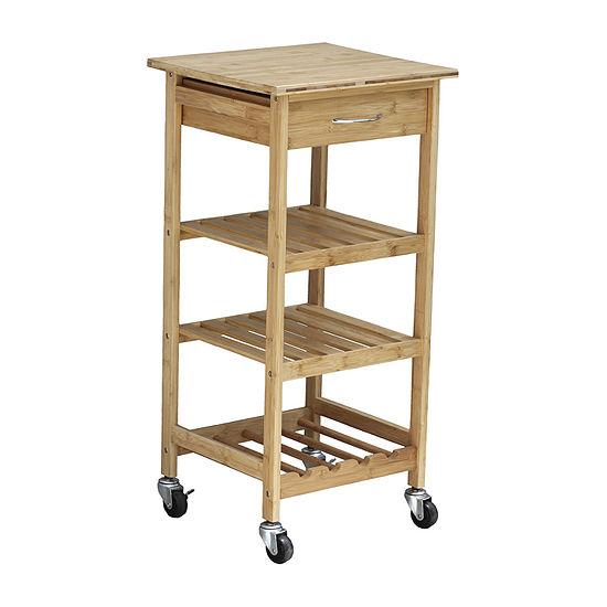 Oceanstar Wood-Top Kitchen Cart