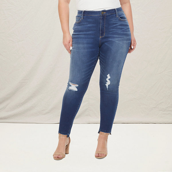 a.n.a Womens High Rise Ripped Jegging - Plus