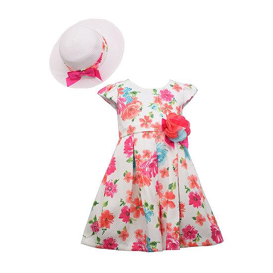 Bonnie Jean - Toddler Girls 2-pc. Short Sleeve Floral A-Line Dress