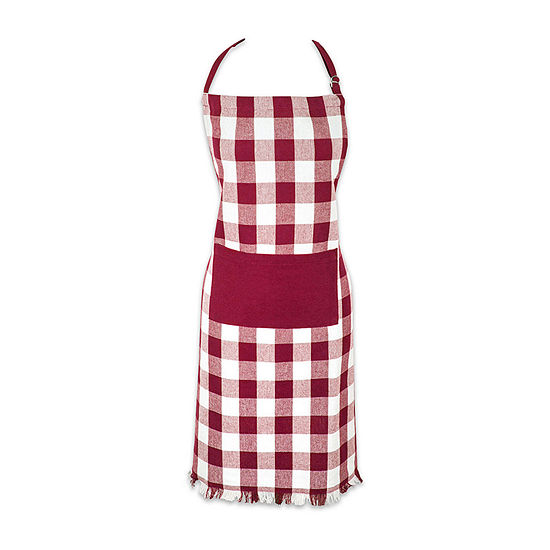 Design Imports Heavyweight Check Fringed Chef Apron