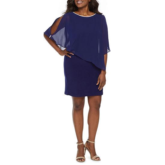 MSK-Petite 3/4 Sleeve Embellished Sheath Dress