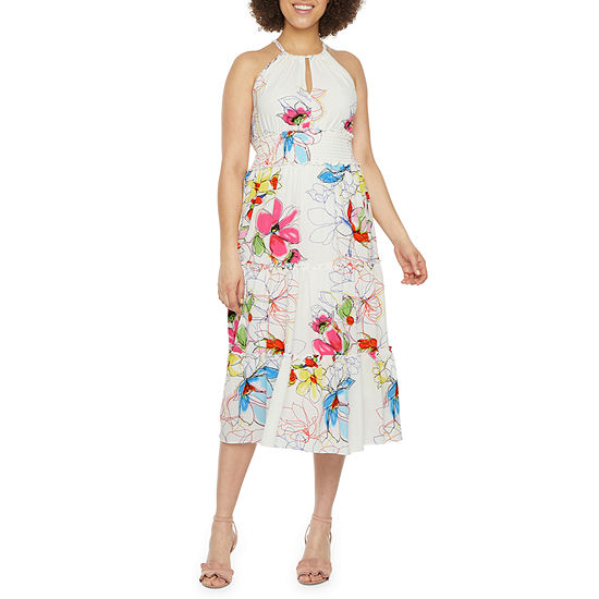 Bleecker 126 Sleeveless Floral Midi Fit & Flare Dress