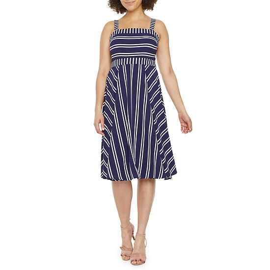 Bleecker 126 Sleeveless Striped Fit & Flare Dress