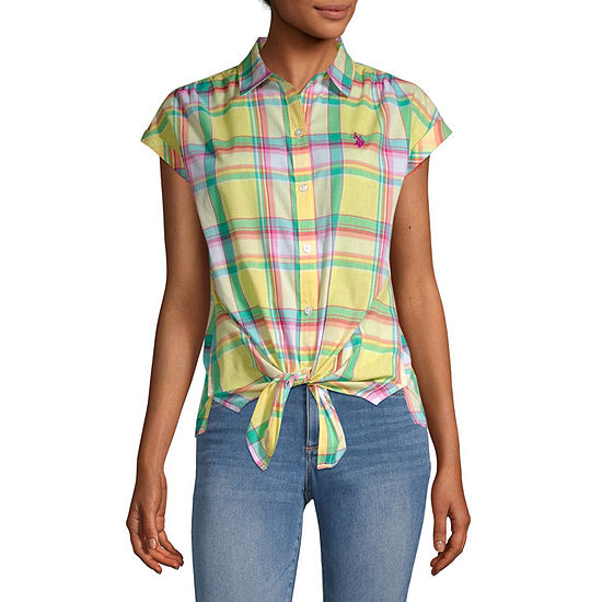Us Polo Assn.-Juniors Womens Short Sleeve Loose Fit Button-Front Shirt