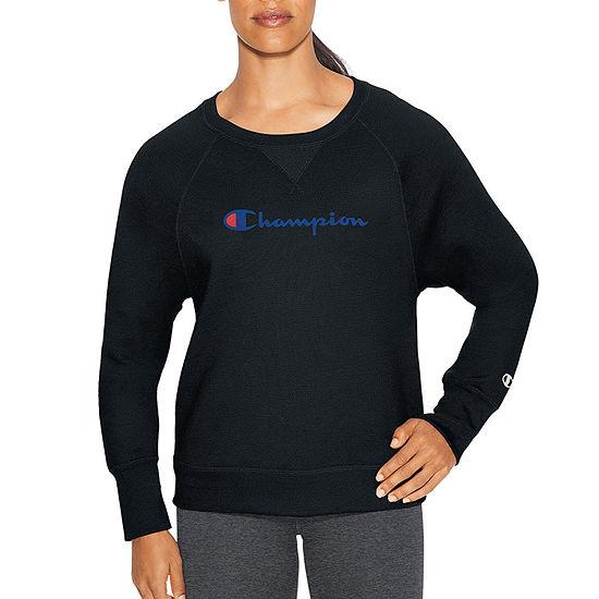 Champion Fleece Bf Crew Graphic Womens Crew Neck Long Sleeve Sweatshirt