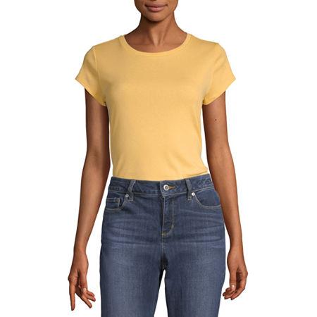 Liz Claiborne Womens Crew Neck Short Sleeve T-Shirt, Small , Yellow