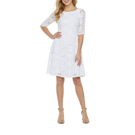 Rabbit Rabbit Rabbit Design 3/4 Sleeve Floral Lace Fit & Flare Dress