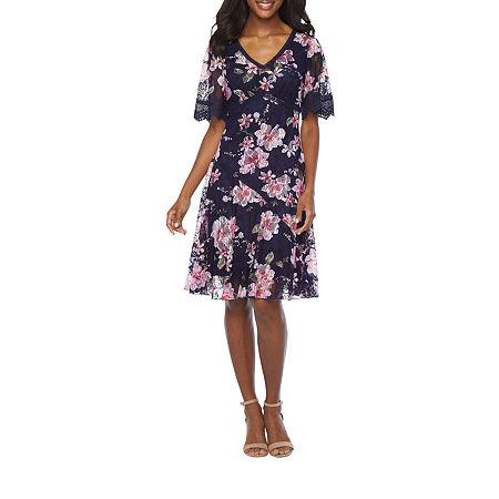 80s Dresses | Casual to Party Dresses Rabbit Rabbit Rabbit Design Short Sleeve Floral Lace Fit  Flare Dress 10  Blue $32.24 AT vintagedancer.com