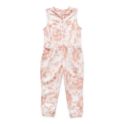 Sleep Chic Toddler Girls French Terry Sleeveless One Piece Pajama