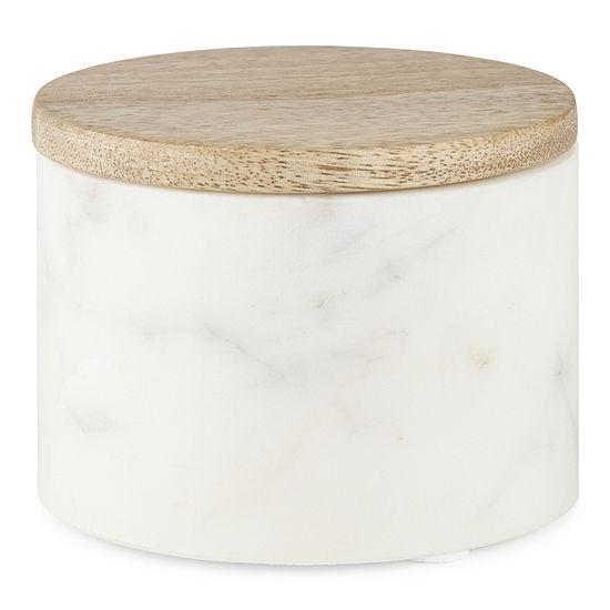 Linden Street Marble & Mango Wood Salt Cellar