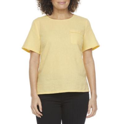 Liz Claiborne Womens Round Neck Short Sleeve Blouse