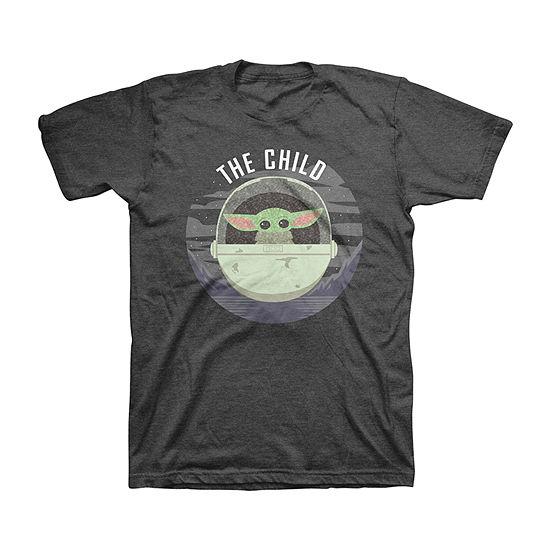 Disney The Child Flip Sequin Little & Big Boys Crew Neck Star Wars Short Sleeve Graphic T-Shirt