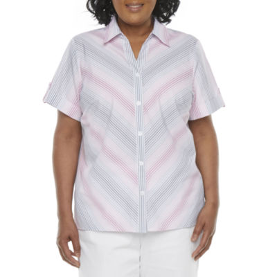 Alfred Dunner-Plus Classics Womens Short Sleeve Blouse