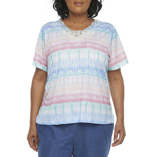 Alfred Dunner Plus Classics Womens Round Neck Short Sleeve T-Shirt