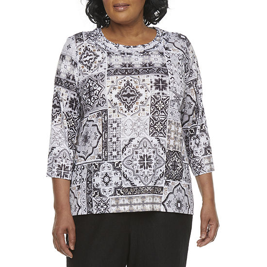Alfred Dunner Plus Classics Womens Round Neck 3/4 Sleeve T-Shirt