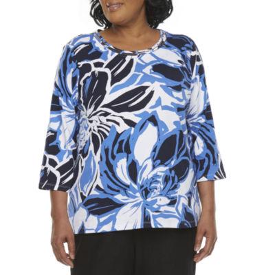 Alfred Dunner Plus Classics Womens Crew Neck 3/4 Sleeve T-Shirt