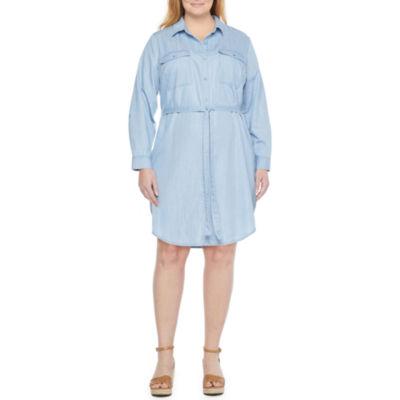 a.n.a-Plus Long Sleeve Shirt Dress