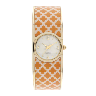 Womens Patterned Closed Bangle Bracelet Watch