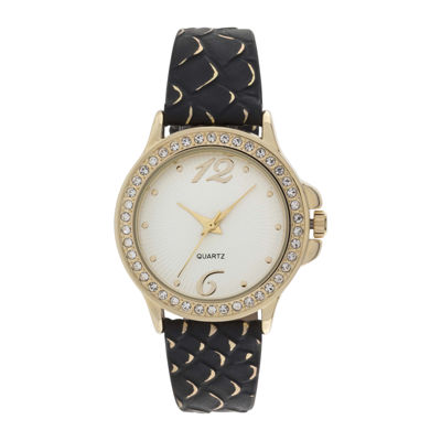 Womens Faux Snakeskin Stone Accent Watch
