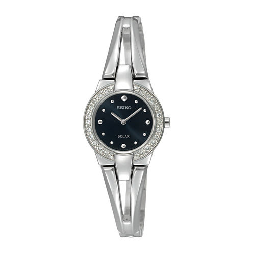 Seiko® Solar Womens Crystal-Accent Bracelet Watch SUP205