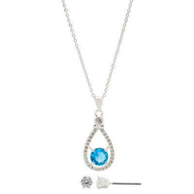 Sparkle Allure Womens 2-pc. Simulated Blue Topaz Brass Jewelry Set