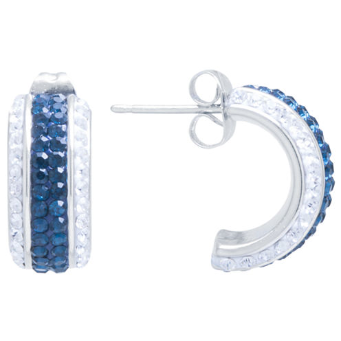 Sparkle Allure Multi Color Silver Over Brass Hoop Earrings