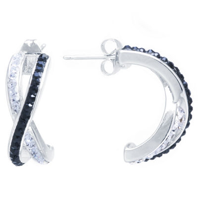 Sparkle Allure Black And White Crossover Post Multi Color 20.5mm Hoop Earrings