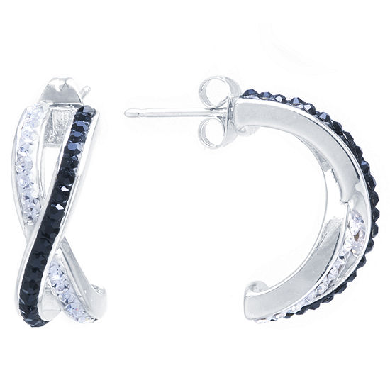 Sparkle Allure Black And White Crossover Post 2-pc. Multi Color Hoop Earrings