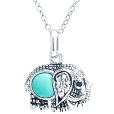 Silver Treasures Womens Blue Pendant Necklace