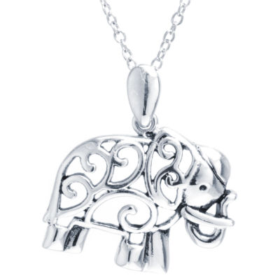 Silver Treasures Womens Pendant Necklace