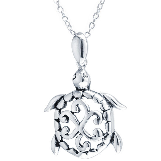 Silver Treasures Turtle 16 Inch Cable Pendant Necklace