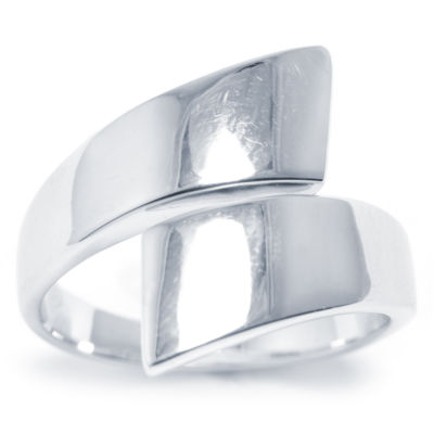 Sparkle Allure Womens Silver Over Brass Bypass Ring