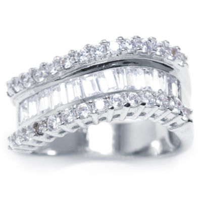 Sparkle Allure Womens Cubic Zirconia Silver Over Brass Band