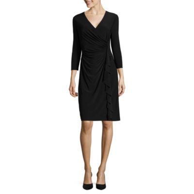 Black Label by Evan-Picone 3/4 Sleeve Ruffle Sheath