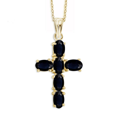 Womens Genuine Blue Sapphire 14K Gold Over Silver Pendant