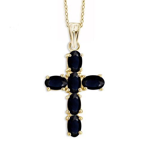 Blue Sapphire Oval Gold Over Silver Pendant